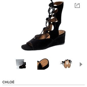 Chloe Black Suede Gladiator Wedge Sandals